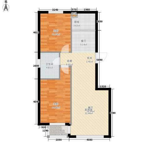 华誉・金御蓝湾2室0厅1卫1厨93.00㎡户型图
