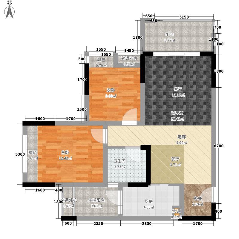 联发嘉园69.14㎡二期3号楼标准层面积6914m户型