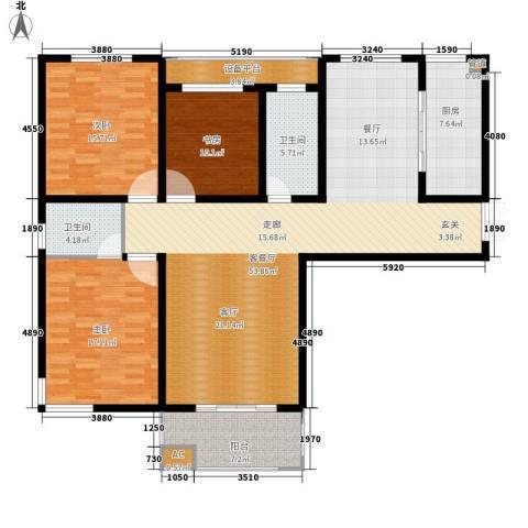 铭洋盛世钱门3室1厅2卫1厨142.86㎡户型图
