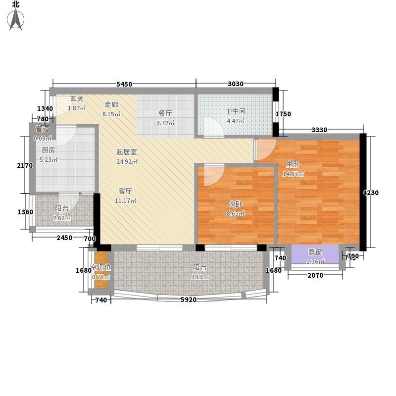 富力桃园80.51㎡D7栋08单元2室面积8051m户型