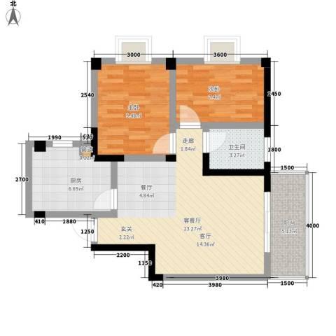 内马路小区2室1厅1卫1厨81.00㎡户型图