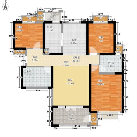 红磡领世郡3室0厅2卫1厨143.00㎡户型图