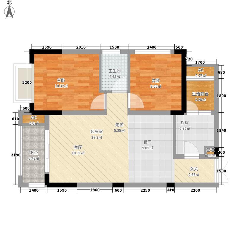 壹江城63.01㎡一期D4号楼标准层面积6301m户型