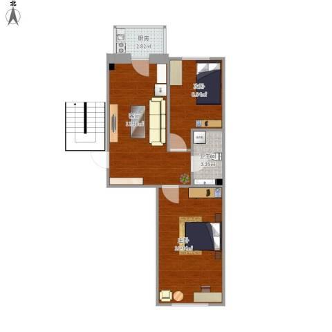 生态园三期2室1厅1卫1厨67.00㎡户型图