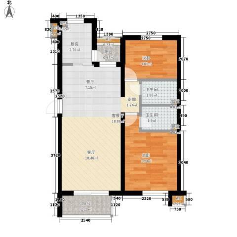 采香花园2室1厅2卫1厨50.00㎡户型图