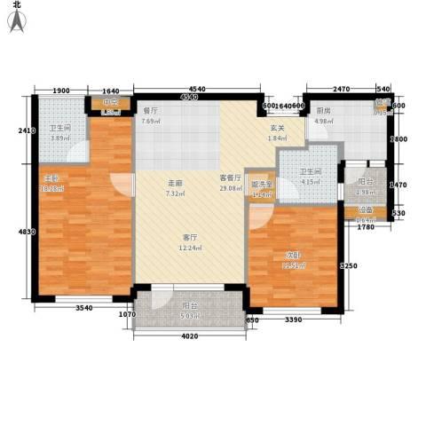 嘉里海楹台2室1厅2卫1厨104.00㎡户型图