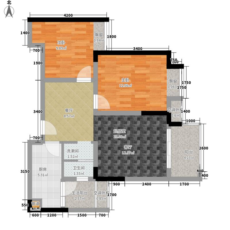 联发嘉园62.38㎡二期3号楼标准层面积6238m户型
