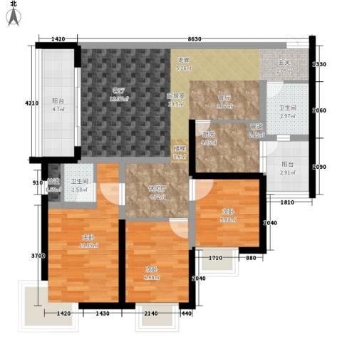 银海北极星3室0厅2卫1厨105.00㎡户型图
