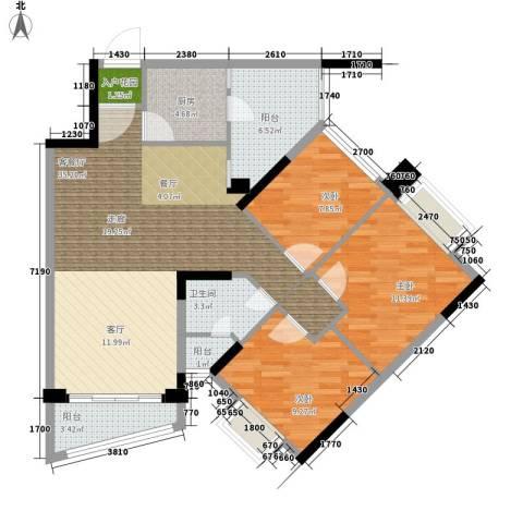 雅居乐・青花南湖3室1厅1卫1厨119.00㎡户型图