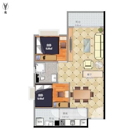 映翠豪庭2室1厅1卫1厨69.00㎡户型图