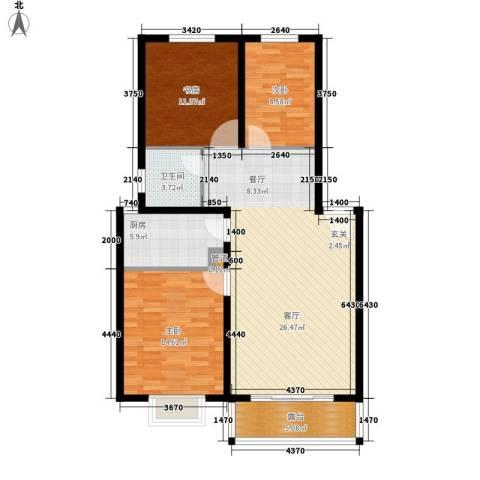 海通・时代康桥1期3室0厅1卫1厨72.00㎡户型图