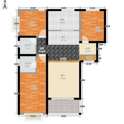 中国铁建领秀城3室1厅2卫1厨118.00㎡户型图