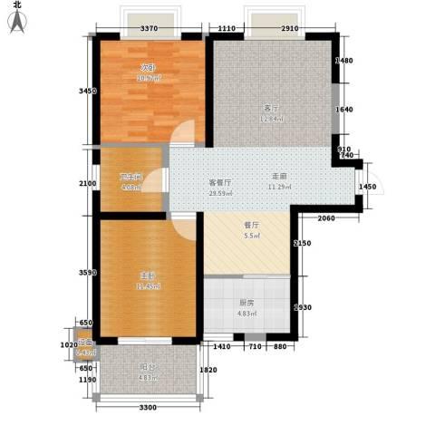 海棠花园2室1厅1卫1厨97.00㎡户型图