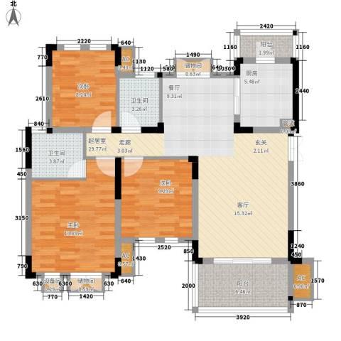 同创高原3室0厅2卫1厨100.00㎡户型图