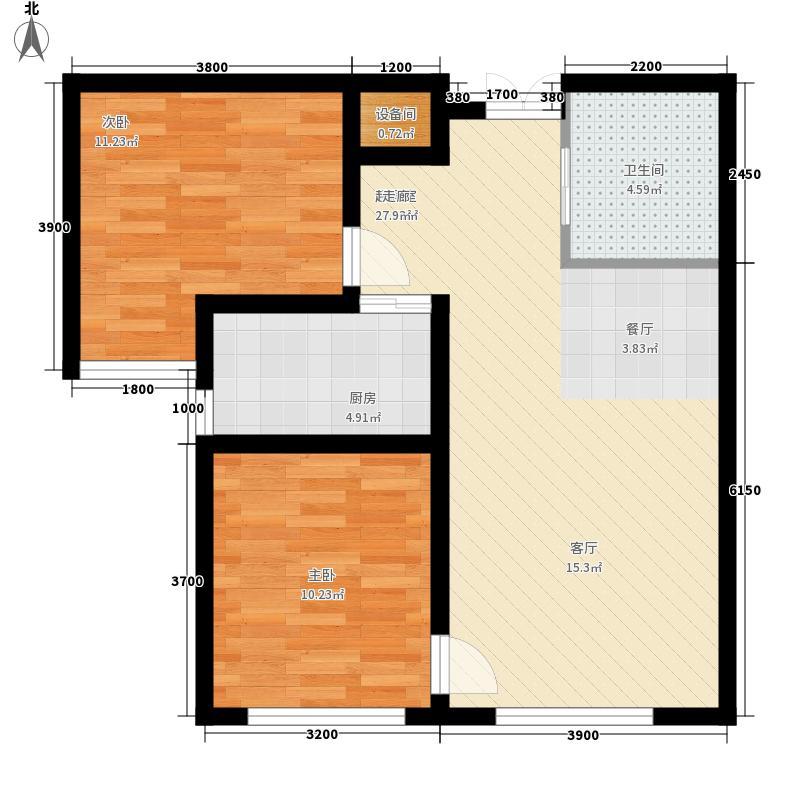 通嘉东方御景80.50㎡两室两厅一厨一卫户型2室2厅1卫