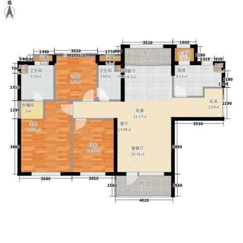 嘉里海楹台3室1厅2卫1厨140.00㎡户型图