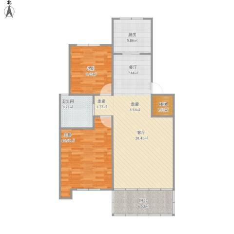 阳光水岸2室1厅1卫1厨103.00㎡户型图