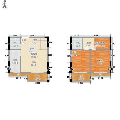 钜和天乐苑2室0厅2卫1厨103.49㎡户型图