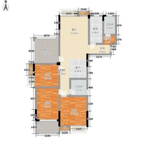 钜和天乐苑3室0厅2卫1厨130.46㎡户型图