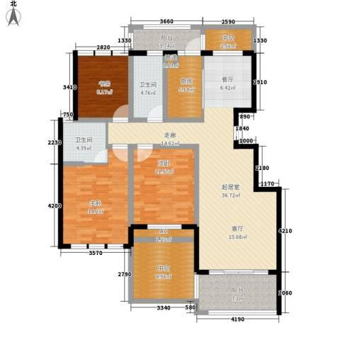 紫金花园3室0厅2卫1厨160.00㎡户型图