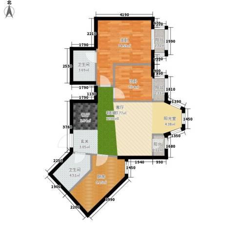 珠江逸景家园2室1厅2卫1厨100.00㎡户型图