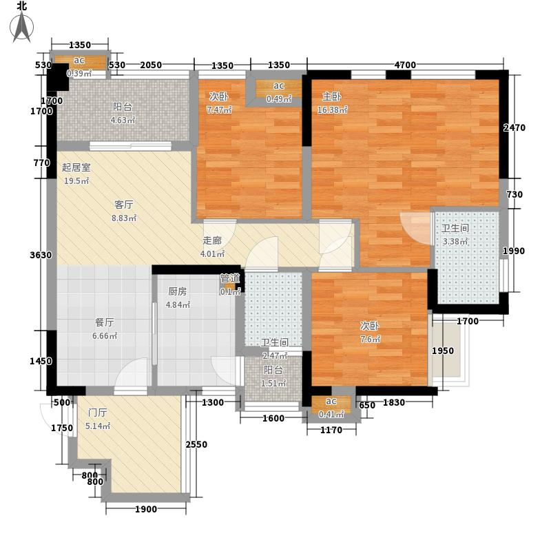南方玫瑰城76.64㎡二期黛瑰苑9/10号楼标准层6/7号房户型