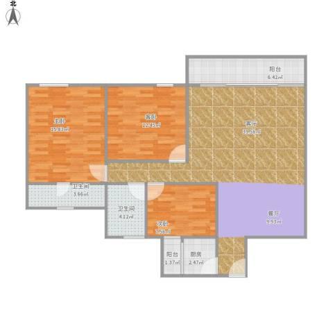 雍逸廷A区3室1厅2卫1厨126.00㎡户型图