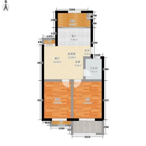 秀水人家2室0厅1卫1厨74.00㎡户型图