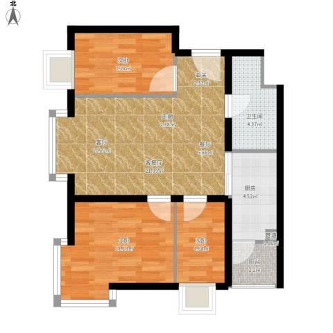 兴豪门3室1厅1卫1厨80.00㎡户型图