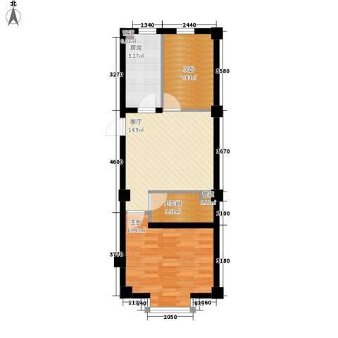 实华・新兴佳园2室1厅1卫1厨65.00㎡户型图