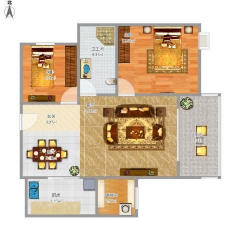天瑞国际2室1厅1卫1厨89.00㎡户型图