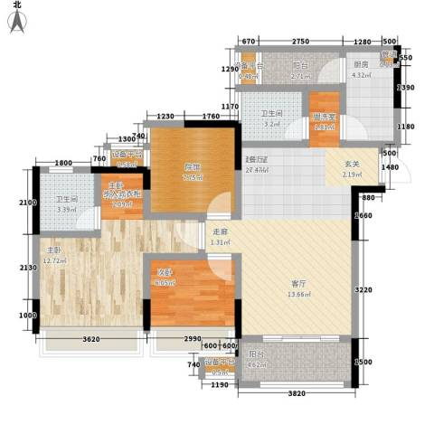 东邦城市花园2室0厅2卫1厨92.00㎡户型图
