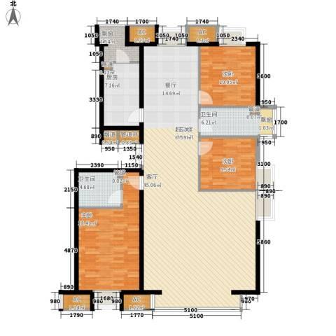 京津时尚广场SOHO商务公寓3室0厅2卫1厨188.00㎡户型图