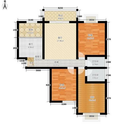 至乐小区1室1厅2卫1厨86.38㎡户型图