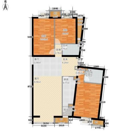 京津时尚广场SOHO商务公寓3室0厅2卫1厨100.00㎡户型图