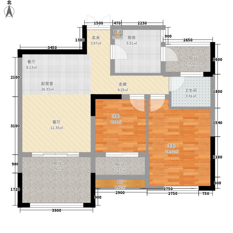 壹江城71.93㎡E2、E3-3号房、4号面积7193m户型