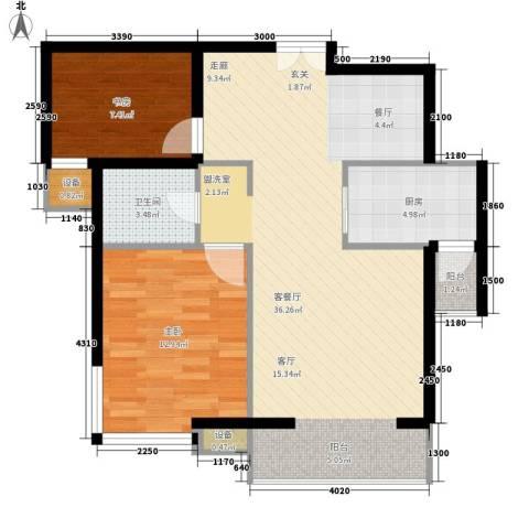 滨旅煦园2室1厅1卫1厨97.00㎡户型图