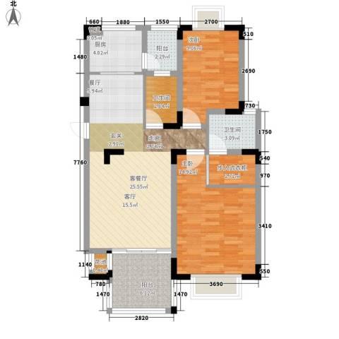 中兴渝景苑2室1厅2卫1厨84.00㎡户型图
