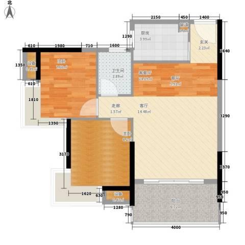 滨江公馆幸福ID2室1厅1卫1厨71.00㎡户型图