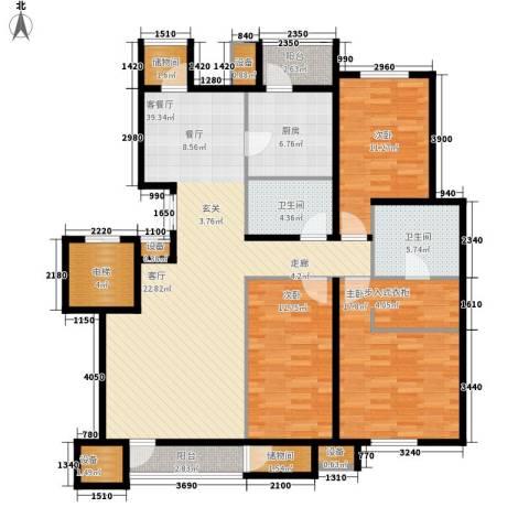 天然气公司家属院3室1厅2卫1厨161.00㎡户型图