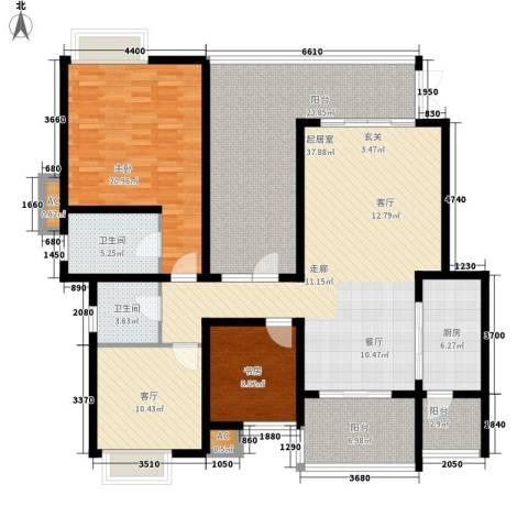 龙湖悠山香庭2室1厅2卫1厨127.28㎡户型图