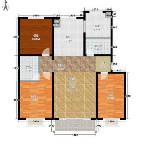 荣江兴旺领地3室1厅2卫1厨120.00㎡户型图