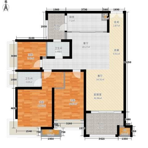 龙湖悠山香庭3室0厅2卫1厨113.00㎡户型图