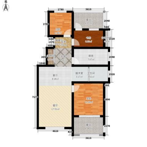 伴山蓝庭3室1厅1卫1厨99.00㎡户型图