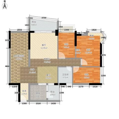 雅居乐・青花南湖3室1厅1卫1厨123.00㎡户型图