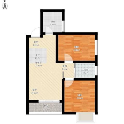 天正银河湾2室1厅1卫1厨74.00㎡户型图