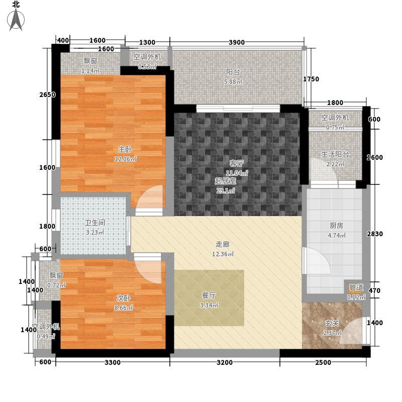联发嘉园68.43㎡二期4号楼2面积6843m户型