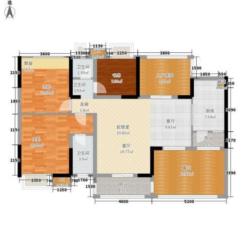 民政小区3室0厅2卫1厨165.00㎡户型图