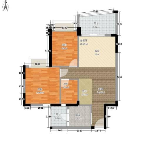 雅居乐・青花南湖3室1厅0卫1厨95.00㎡户型图