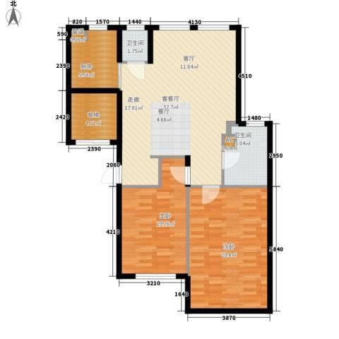 启明星座2室1厅2卫1厨92.00㎡户型图